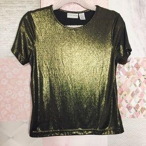 Jaclyn Smith | Black & Gold Shimmer T-Shirt